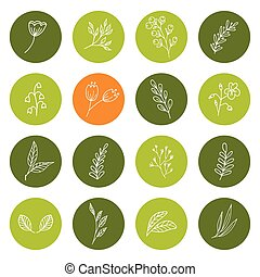 Set of hand drawn floral icons