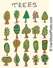 Set of hand-drawn forest tree