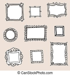 Set of hand-drawn frames