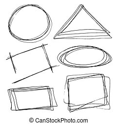 Set of hand drawn frames. Vector illustration