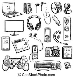 Set of hand drawn GADGET icons with notebook, phone, game...