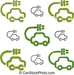 Set of hand-drawn green eco car icons, collection of illustrated