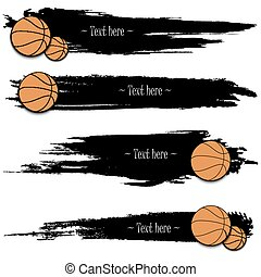 Set of hand drawn grunge banners with basketball