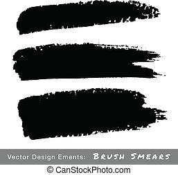 Set of Hand Drawn Grunge Brush Smears, vector illustration