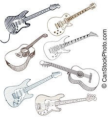 set of hand drawn guitars on white. vector