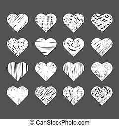 Set of hand drawn hearts on black background