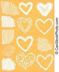 set of hand drawn hearts,  vector