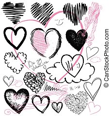 set of hand drawn hearts,  vector