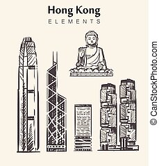 Set of hand-drawn Hong Kong buildings.Hong Kong elements sketch vector illustration.