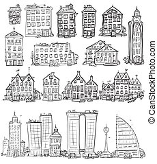Set of hand drawn houses