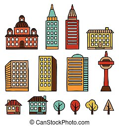 Set of hand drawn houses for town illustration
