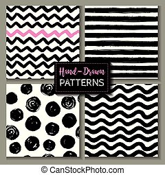 Set of hand drawn ink seamless patterns. Endless vector backgrounds of simple primitive scratchy textures with dots, stripes, waves.
