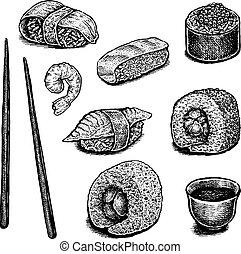 Set of hand drawn ink sushi