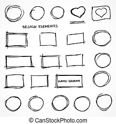 Set of Hand Drawn Isolated Scribble Design Elements for Business
