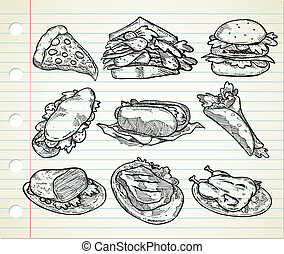 hand drawn junk food - set of hand drawn junk food