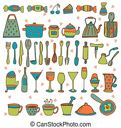 Set of hand drawn kitchen equipments