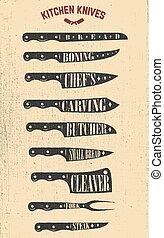 Set of hand drawn kitchen knives illustrations. Design elements