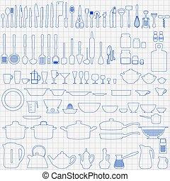 Set of hand-drawn kitchen utensils and appliances