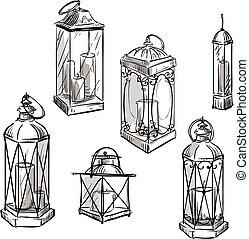 set of hand drawn lanterns.