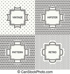 Set of hand drawn line ink seamless pattern with circle, round. Vintage frames. Wrapping paper. Vector background. Graphic texture for greeting cards, wedding invitations. Labels, badges.