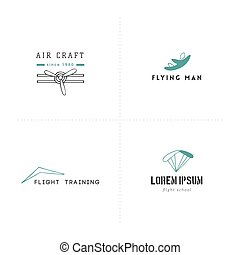 Set of hand drawn logo templates. Sky sports colored vector elements.
