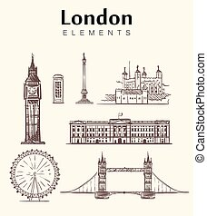 Set of hand-drawn London buildings.London sketch vector illustration.