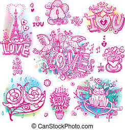 Set of hand drawn love sketchy