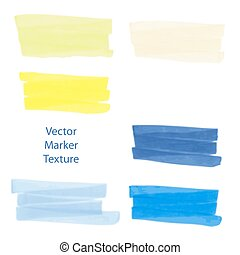 Set of hand drawn marker texture, watercolor effect, spots for design