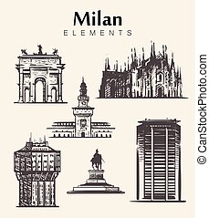 Set of hand-drawn Milan buildings.Milan elements sketch vector illustration.