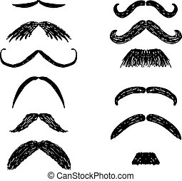Set of hand drawn mustaches, black silhouettes. Collection of men's mustaches. Vector illustration.