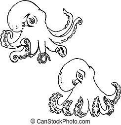 Set of hand drawn octopus isolated on white background.