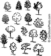 Set of hand drawn of trees. Ink style. Vector collection.