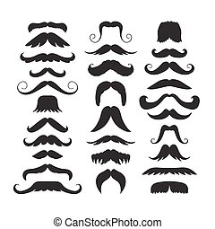 Set of hand drawn old fashion mustaches. Black contour...