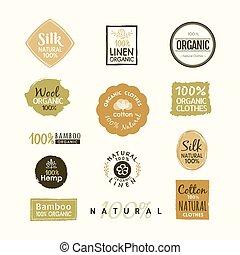 Set of hand drawn organic clothes logo label badge design