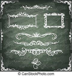 Set of hand-drawn ornamental frames. Vintage card.