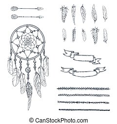 Set of hand drawn ornate Dreamcatcher, feathers, arrows,...