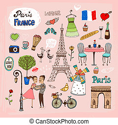 Paris France landmarks and icons - Set of hand-drawn Paris...