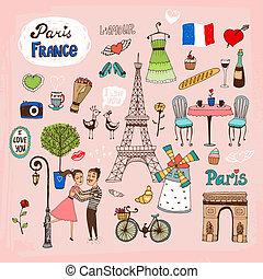 Paris France landmarks and icons - Set of hand-drawn Paris ...
