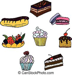 Set of hand drawn pastries, cupcakes