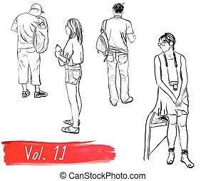 Set of hand-drawn people.