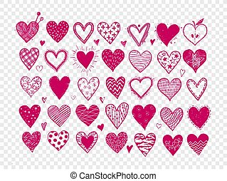 Set of hand drawn pink doodle sketch hearts. Vector illustration.