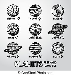 Set of hand drawn planet icons with names and astronomical...