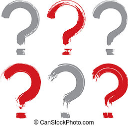 Set of hand-drawn question mark icons, collection of brush drawi