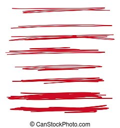Set of hand drawn red lines. Vector collection of underline, emphasis, scribble brush strokes.