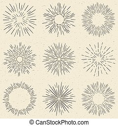 Set of hand drawn retro sunburst, fireworks or bursting rays design elements. Vintage style, grunge paper background.