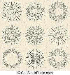 Set of hand drawn retro sunburst, fireworks or bursting rays design elements. Vintage style, grunge paper background.