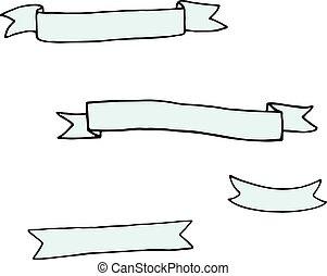 Set of hand drawn ribbon banners.