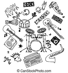 Set of hand drawn rock and pop music theme isolated on white background, doodle set of Musical Instruments theme.