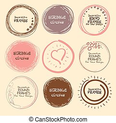 Set of hand drawn scribble circles and decorative frames for your design. Vector