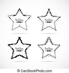 Set of hand drawn scribble isolated stars.